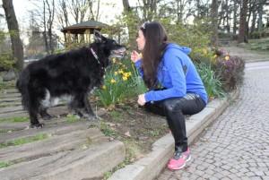 Running Charlotte con i suo cane